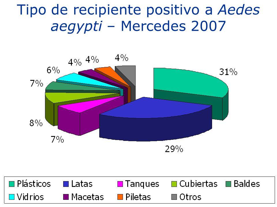 Tipo de recipiente positivo a Aedes aegypti – Mercedes 2007