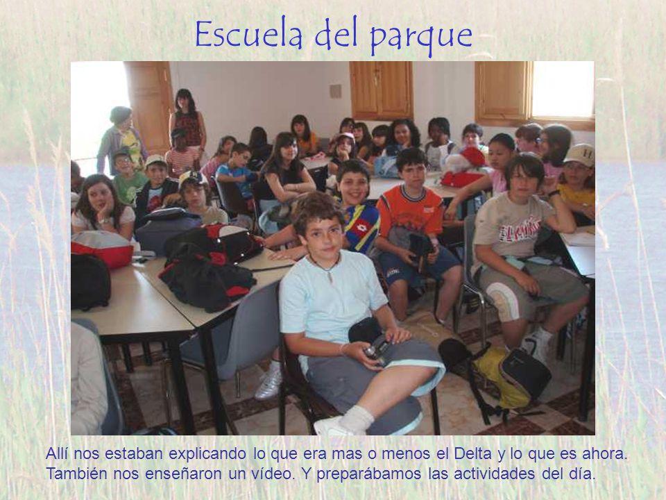 Escuela del parque Allí nos estaban explicando lo que era mas o menos el Delta y lo que es ahora. También nos enseñaron un vídeo. Y preparábamos las a