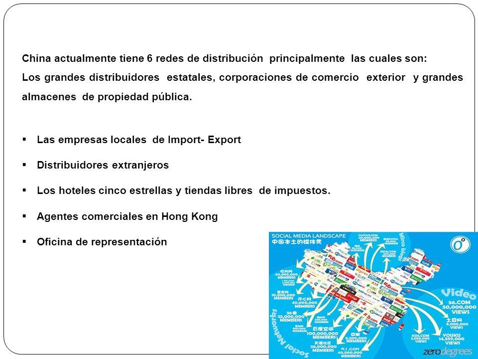 China actualmente tiene 6 redes de distribución principalmente las cuales son: Los grandes distribuidores estatales, corporaciones de comercio exterio