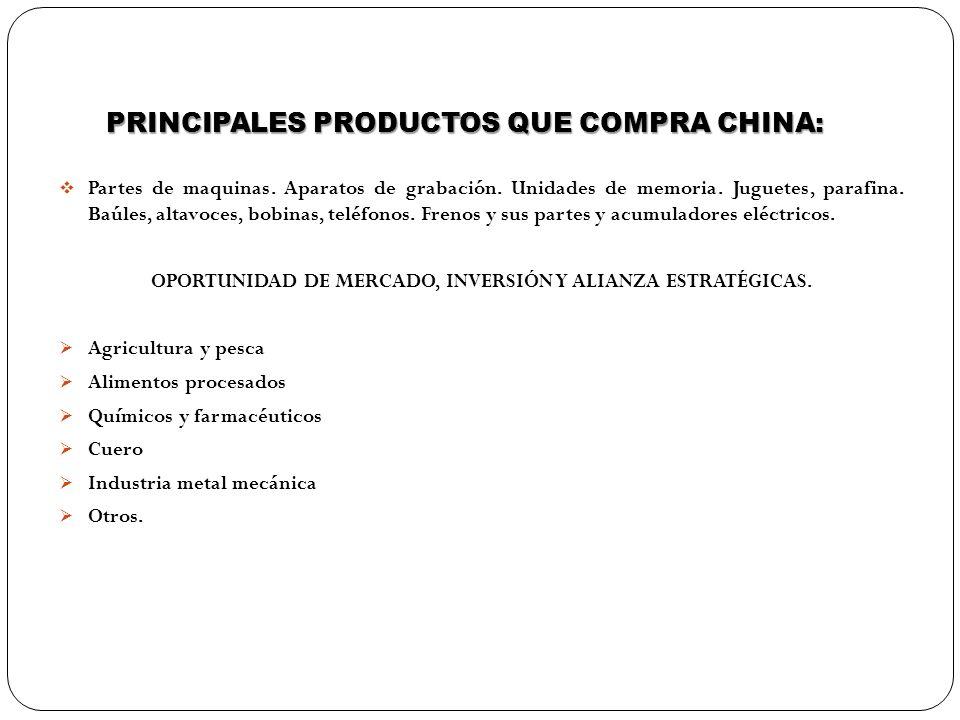 PRINCIPALES PRODUCTOS QUE COMPRA CHINA: Partes de maquinas. Aparatos de grabación. Unidades de memoria. Juguetes, parafina. Baúles, altavoces, bobinas