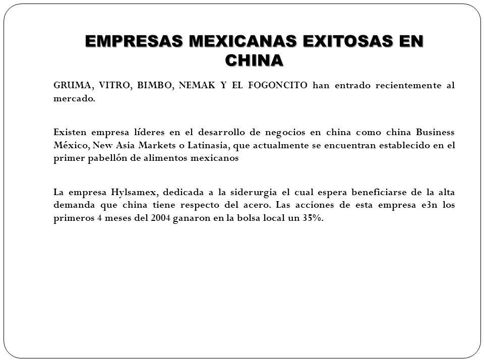 EMPRESAS MEXICANAS EXITOSAS EN CHINA GRUMA, VITRO, BIMBO, NEMAK Y EL FOGONCITO han entrado recientemente al mercado. Existen empresa líderes en el des