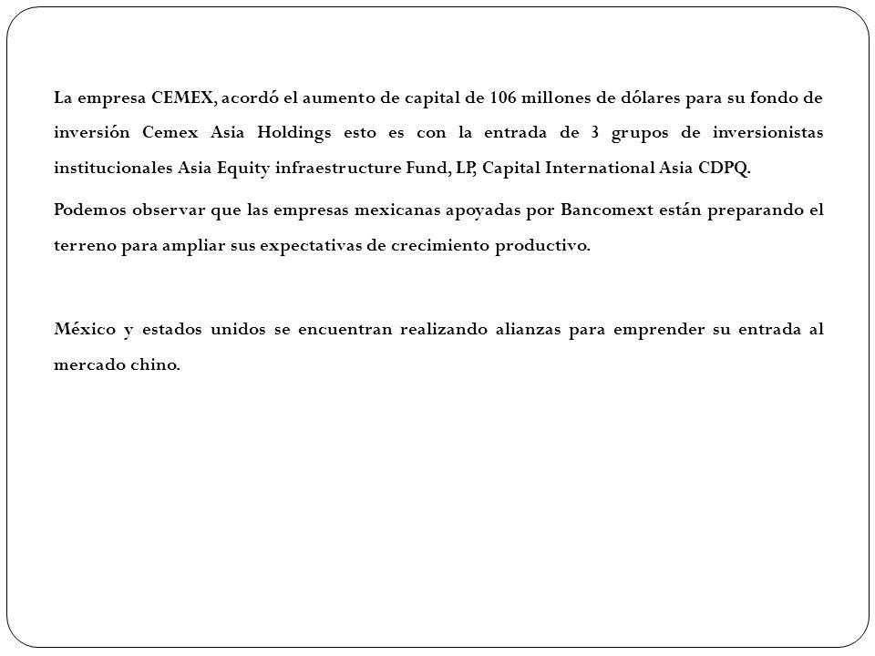 La empresa CEMEX, acordó el aumento de capital de 106 millones de dólares para su fondo de inversión Cemex Asia Holdings esto es con la entrada de 3 g