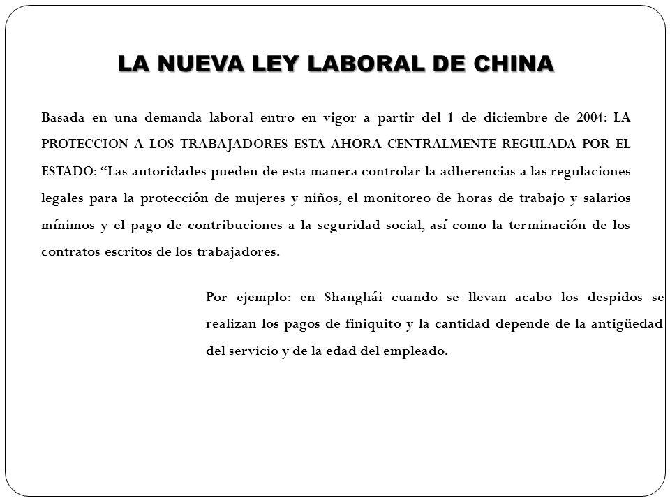 LA NUEVA LEY LABORAL DE CHINA Basada en una demanda laboral entro en vigor a partir del 1 de diciembre de 2004: LA PROTECCION A LOS TRABAJADORES ESTA