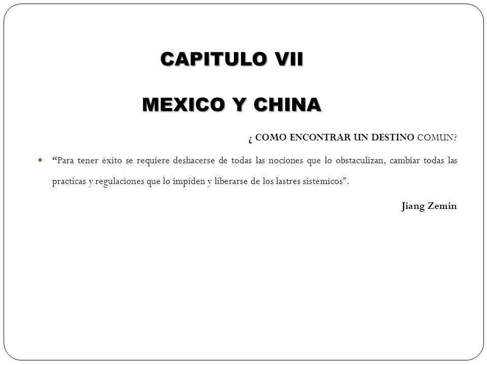 CAPITULO VII MEXICO Y CHINA ¿ COMO ENCONTRAR UN DESTINO COMUN? Para tener éxito se requiere deshacerse de todas las nociones que lo obstaculizan, camb
