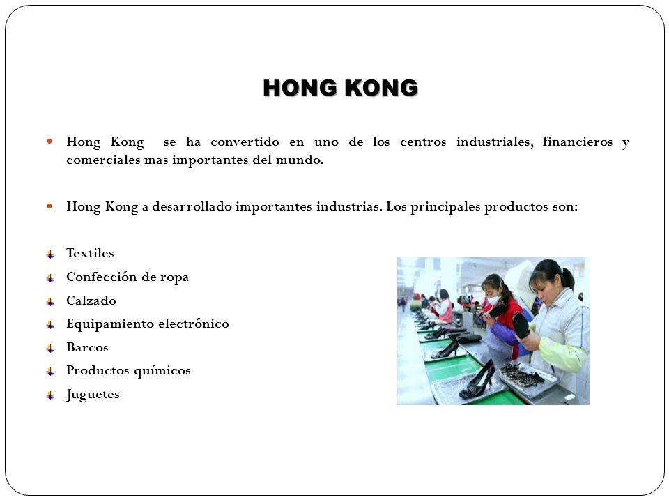 HONG KONG Hong Kong se ha convertido en uno de los centros industriales, financieros y comerciales mas importantes del mundo. Hong Kong a desarrollado