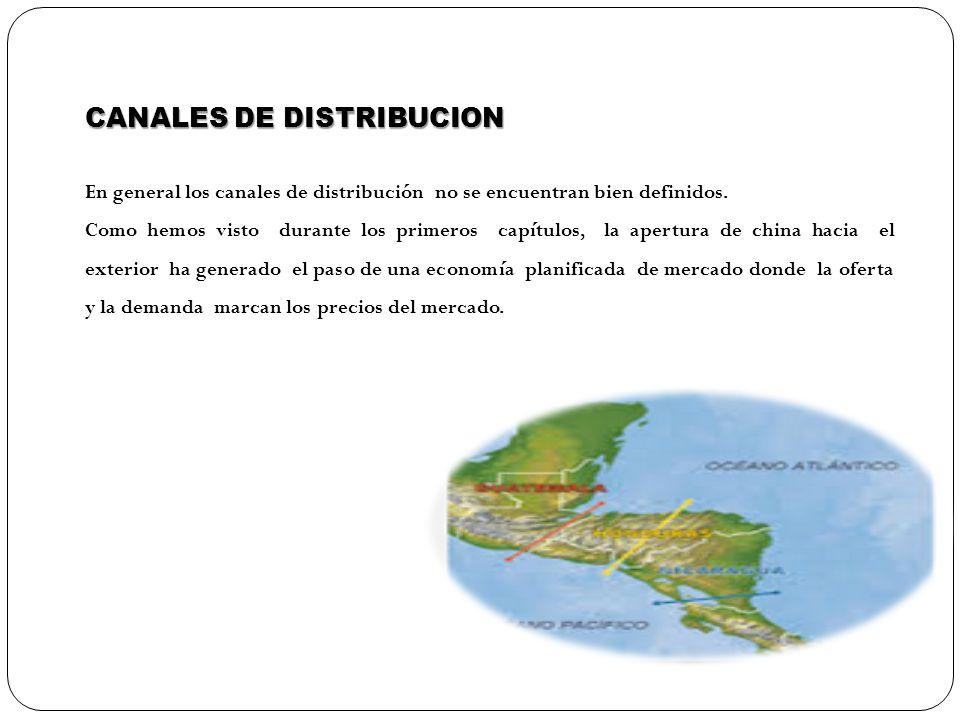 CANALES DE DISTRIBUCION En general los canales de distribución no se encuentran bien definidos. Como hemos visto durante los primeros capítulos, la ap