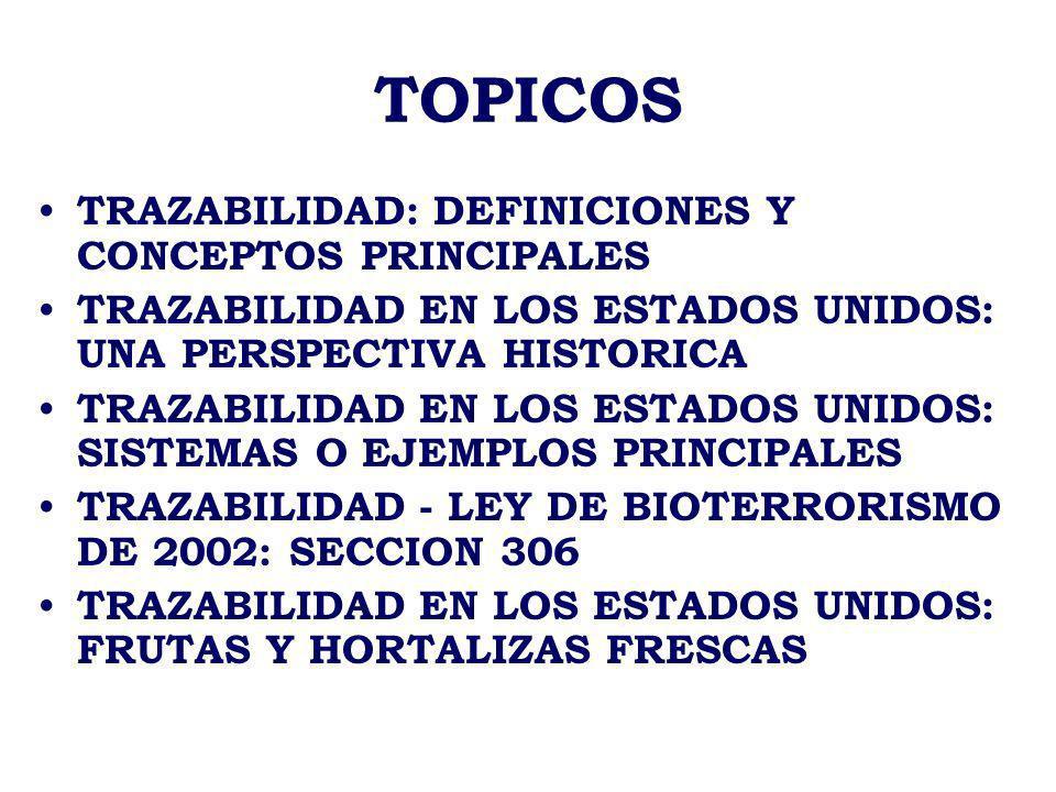 TOPICOS TRAZABILIDAD: DEFINICIONES Y CONCEPTOS PRINCIPALES TRAZABILIDAD EN LOS ESTADOS UNIDOS: UNA PERSPECTIVA HISTORICA TRAZABILIDAD EN LOS ESTADOS U