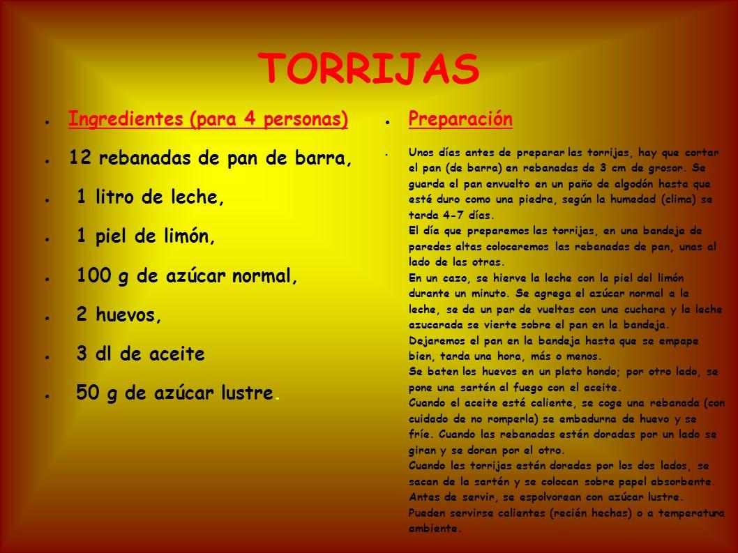TORRIJAS Ingredientes (para 4 personas) 12 rebanadas de pan de barra, 1 litro de leche, 1 piel de limón, 100 g de azúcar normal, 2 huevos, 3 dl de ace