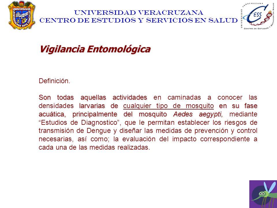 UNIVERSIDAD VERACRUZANA CENTRO DE ESTUDIOS Y SERVICIOS EN SALUD Vigilancia Entomológica Definición. Son todas aquellas actividades larvarias de en su
