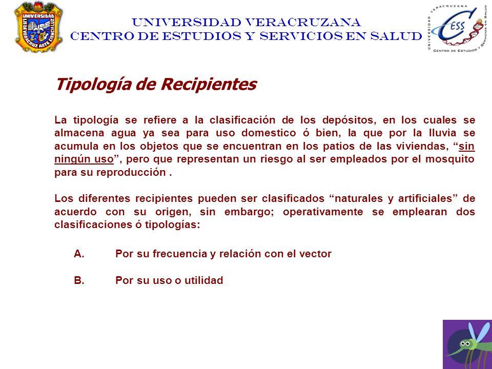 UNIVERSIDAD VERACRUZANA CENTRO DE ESTUDIOS Y SERVICIOS EN SALUD Tipología de Recipientes La tipología se refiere a la clasificación de los depósitos,