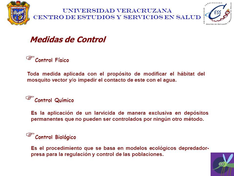 UNIVERSIDAD VERACRUZANA CENTRO DE ESTUDIOS Y SERVICIOS EN SALUD Control Físico Toda medida aplicada con el propósito de modificar el hábitat del mosqu