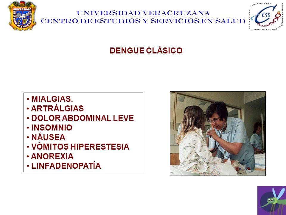 UNIVERSIDAD VERACRUZANA CENTRO DE ESTUDIOS Y SERVICIOS EN SALUD MIALGIAS. ARTRÁLGIAS DOLOR ABDOMINAL LEVE INSOMNIO NÁUSEA VÓMITOS HIPERESTESIA ANOREXI