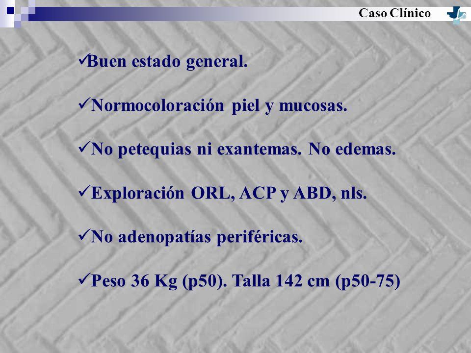 Buen estado general. Normocoloración piel y mucosas. No petequias ni exantemas. No edemas. Exploración ORL, ACP y ABD, nls. No adenopatías periféricas