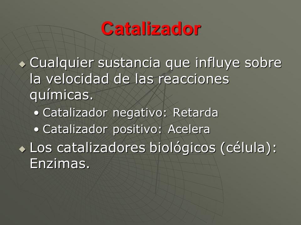 Catalizador Cualquier sustancia que influye sobre la velocidad de las reacciones químicas. Cualquier sustancia que influye sobre la velocidad de las r