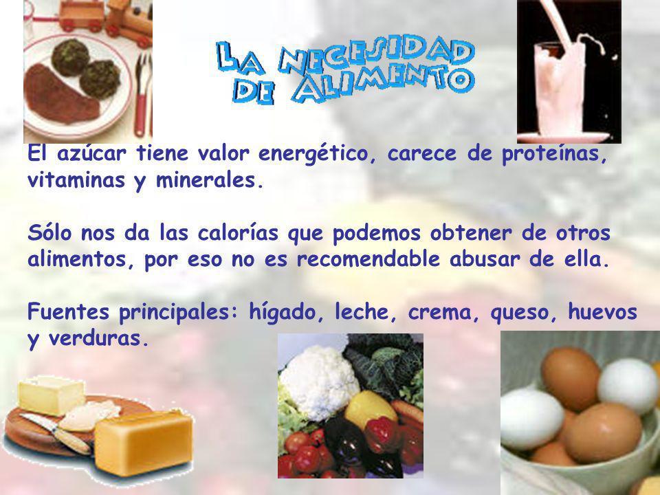 El azúcar tiene valor energético, carece de proteínas, vitaminas y minerales.