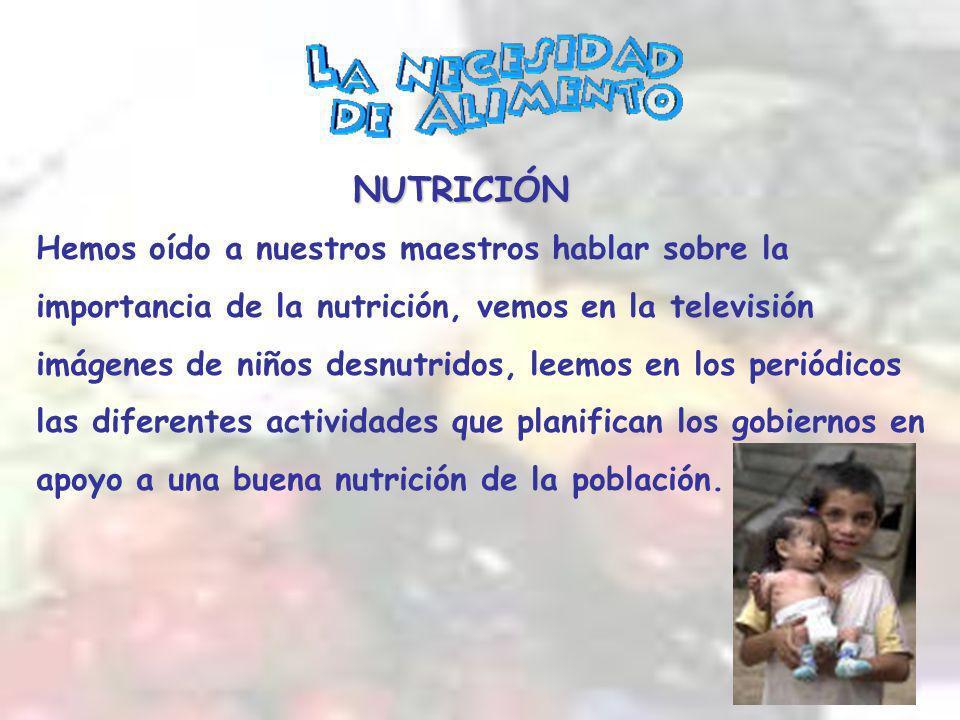 NUTRICIÓN Hemos oído a nuestros maestros hablar sobre la importancia de la nutrición, vemos en la televisión imágenes de niños desnutridos, leemos en los periódicos las diferentes actividades que planifican los gobiernos en apoyo a una buena nutrición de la población.