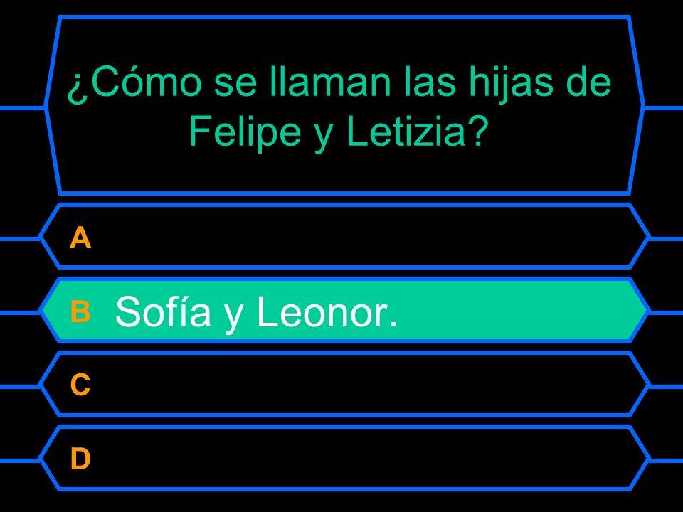 ¿Cómo se llaman las hijas de Felipe y Letizia. A Leonor y Carmen.
