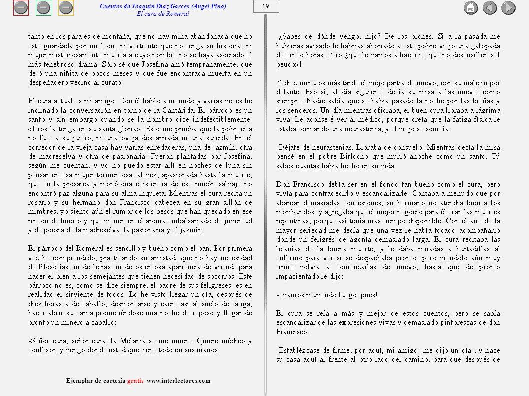 20 Ejemplar de cortesía gratis www.interlectores.com Cuentos de Joaquín Díaz Garcés (Angel Pino) El cura de Romeral