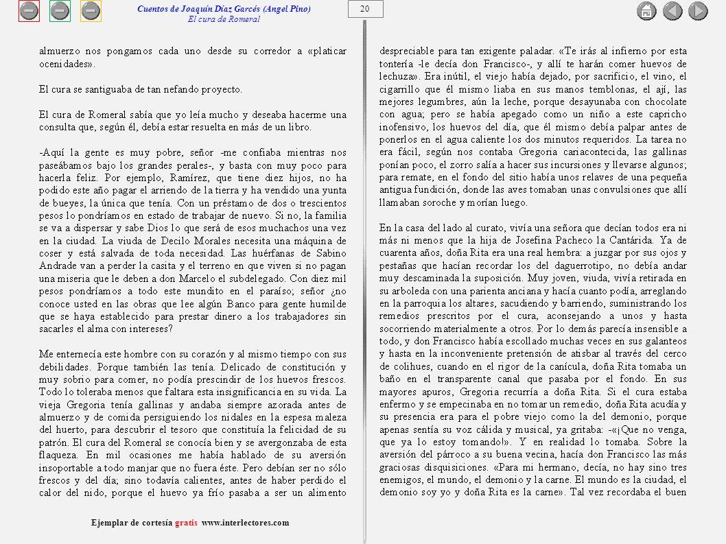 21 Ejemplar de cortesía gratis www.interlectores.com Cuentos de Joaquín Díaz Garcés (Angel Pino) El cura de Romeral