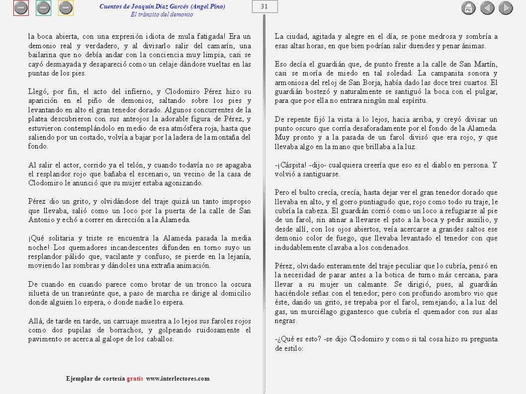 32 Ejemplar de cortesía gratis www.interlectores.com Cuentos de Joaquín Díaz Garcés (Angel Pino) El tránsito del demonio
