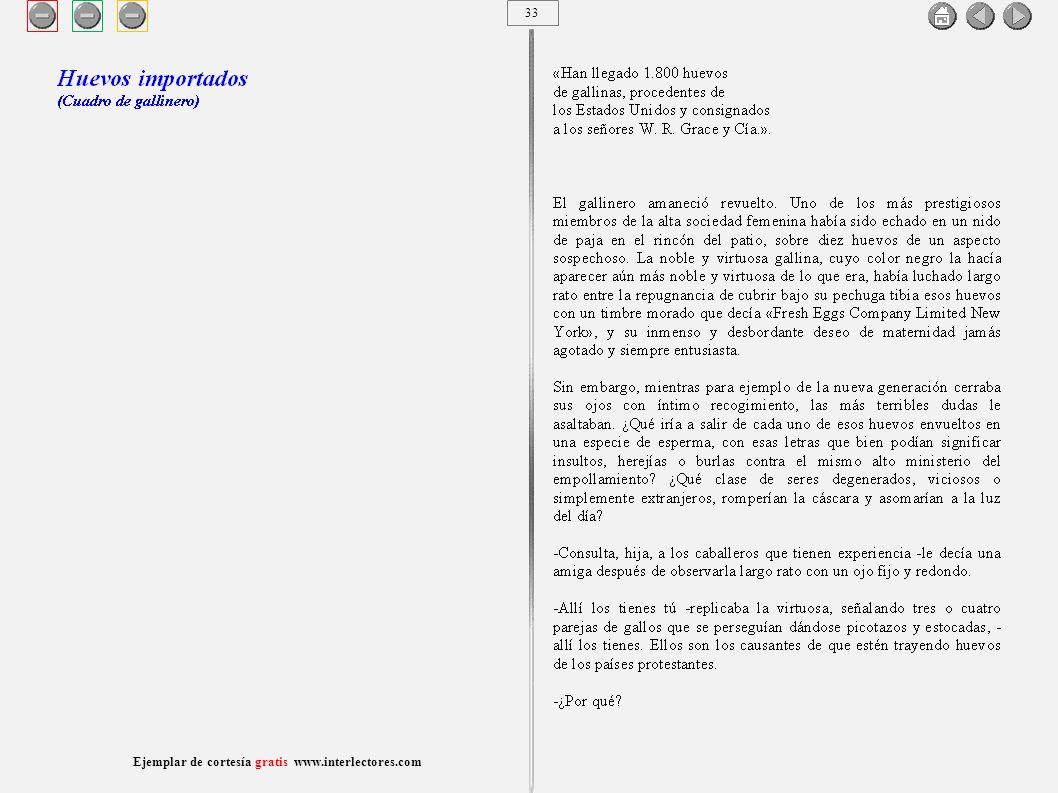 34 Ejemplar de cortesía gratis www.interlectores.com Cuentos de Joaquín Díaz Garcés (Angel Pino) Huevos importados (Cuadro de gallinero)