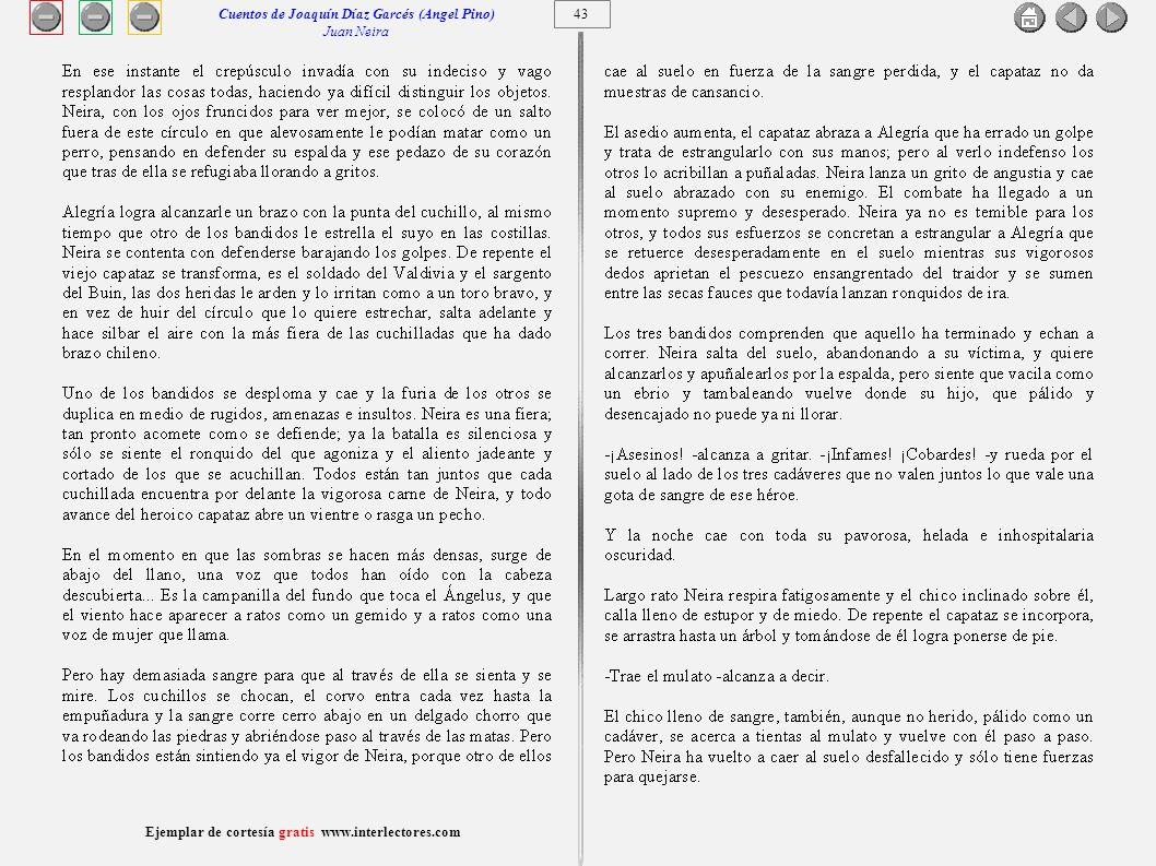44 Ejemplar de cortesía gratis www.interlectores.com Cuentos de Joaquín Díaz Garcés (Angel Pino) Juan Neira