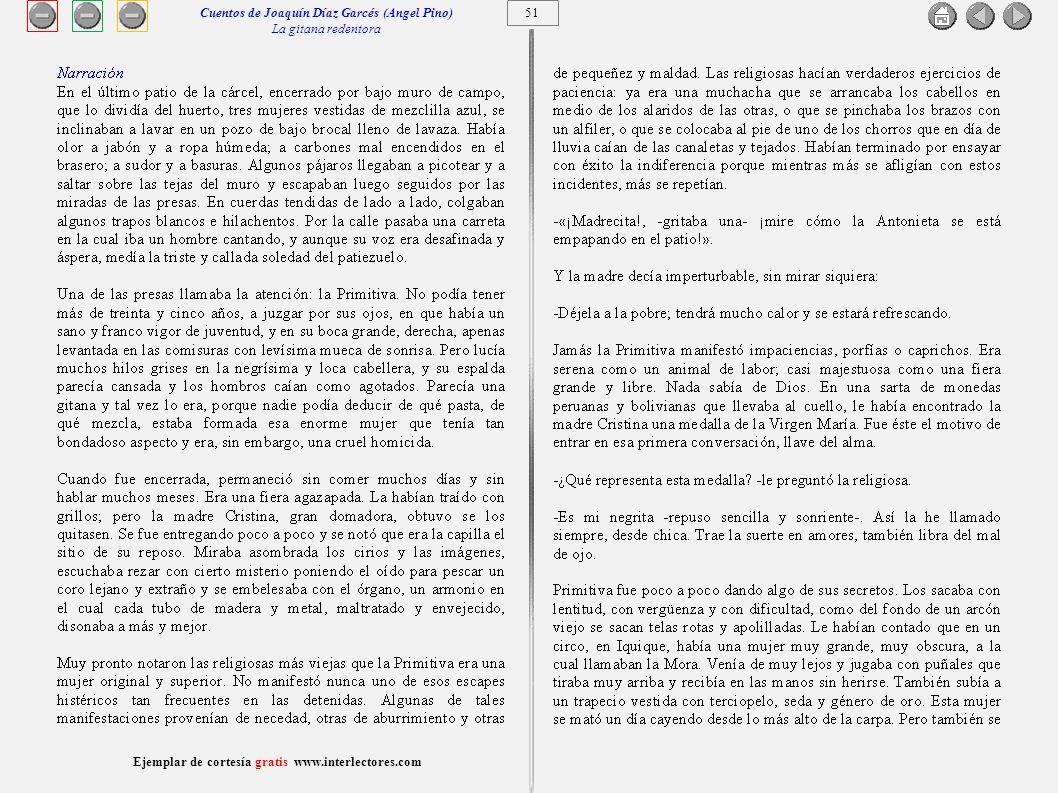 52 Ejemplar de cortesía gratis www.interlectores.com Cuentos de Joaquín Díaz Garcés (Angel Pino) La gitana redentora