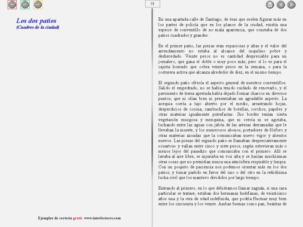 59 Ejemplar de cortesía gratis www.interlectores.com Cuentos de Joaquín Díaz Garcés (Angel Pino) Los dos patios (Cuadros de la ciudad)