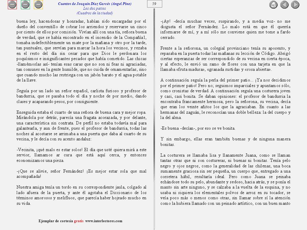 60 Ejemplar de cortesía gratis www.interlectores.com Cuentos de Joaquín Díaz Garcés (Angel Pino) Los dos patios (Cuadros de la ciudad)