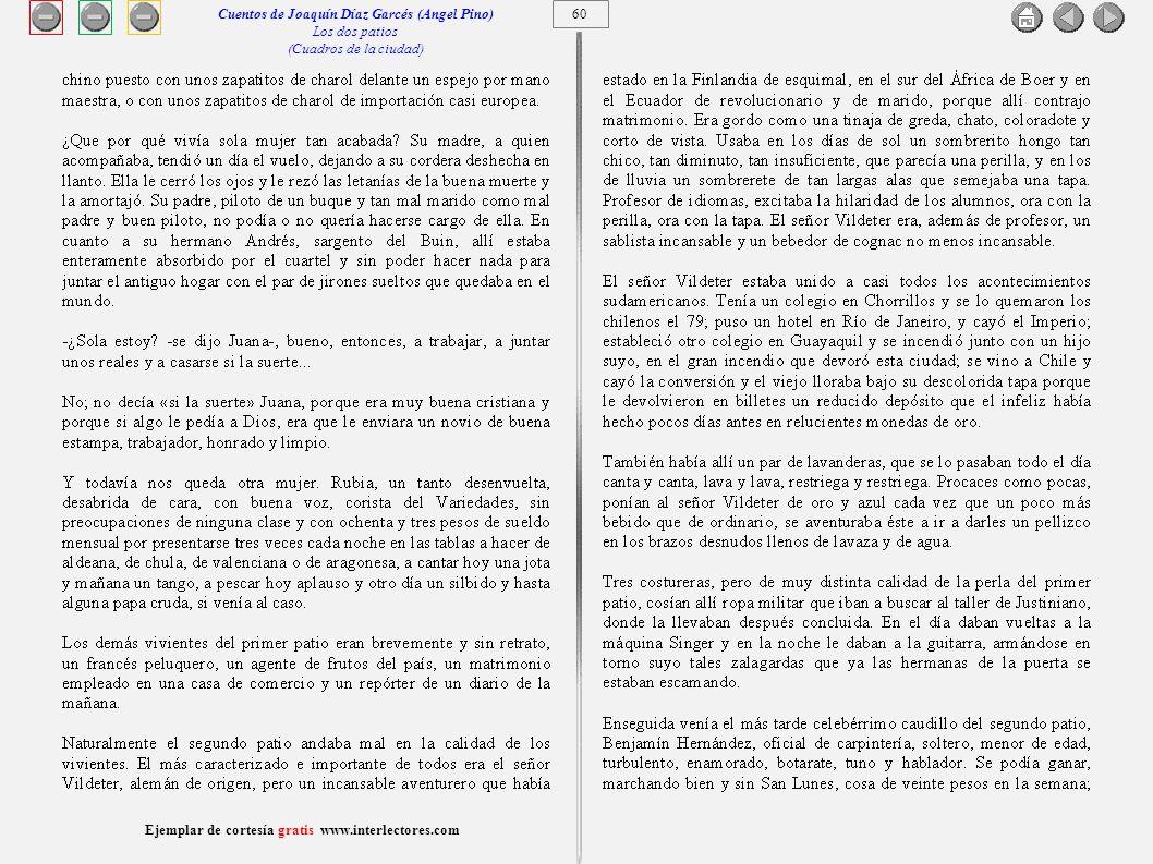 61 Ejemplar de cortesía gratis www.interlectores.com Cuentos de Joaquín Díaz Garcés (Angel Pino) Los dos patios (Cuadros de la ciudad)