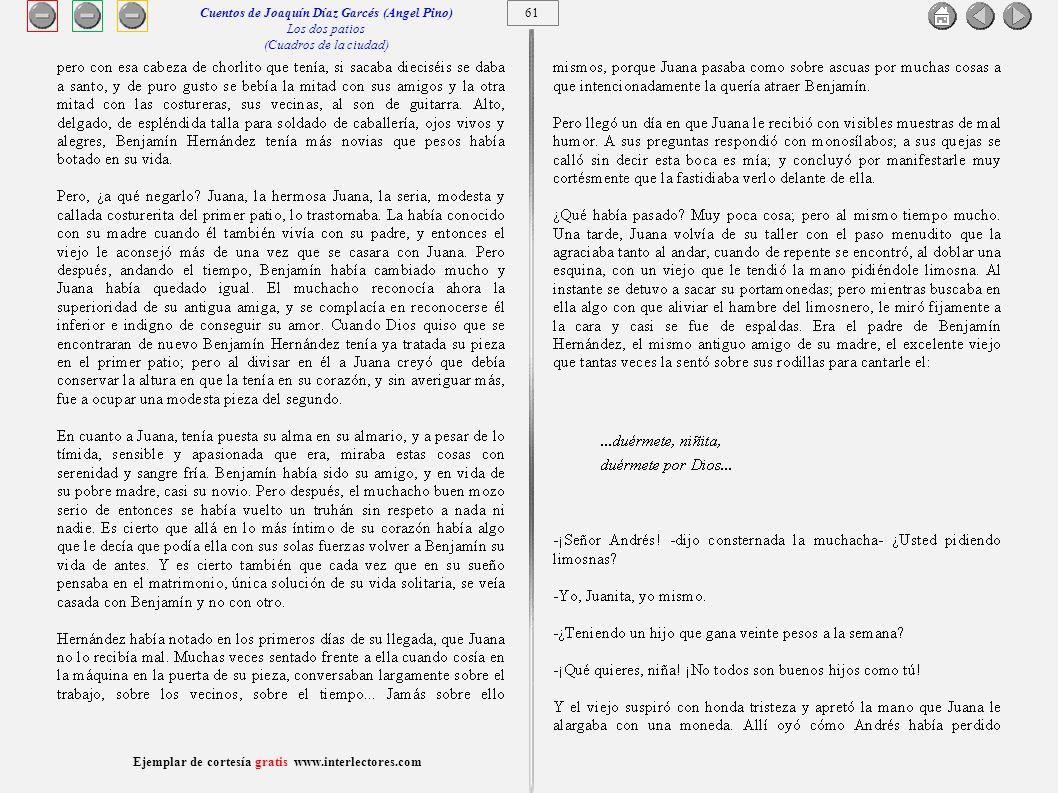 62 Ejemplar de cortesía gratis www.interlectores.com Cuentos de Joaquín Díaz Garcés (Angel Pino) Los dos patios (Cuadros de la ciudad)