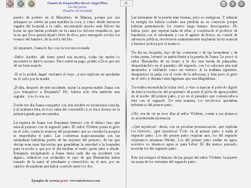63 Ejemplar de cortesía gratis www.interlectores.com Cuentos de Joaquín Díaz Garcés (Angel Pino) Los dos patios (Cuadros de la ciudad)