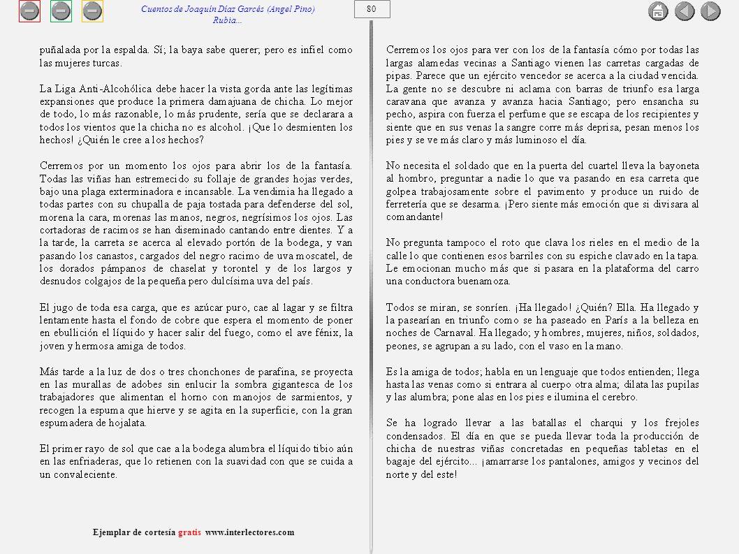 81 Ejemplar de cortesía gratis www.interlectores.com Cuentos de Joaquín Díaz Garcés (Angel Pino) Un siglo en una noche