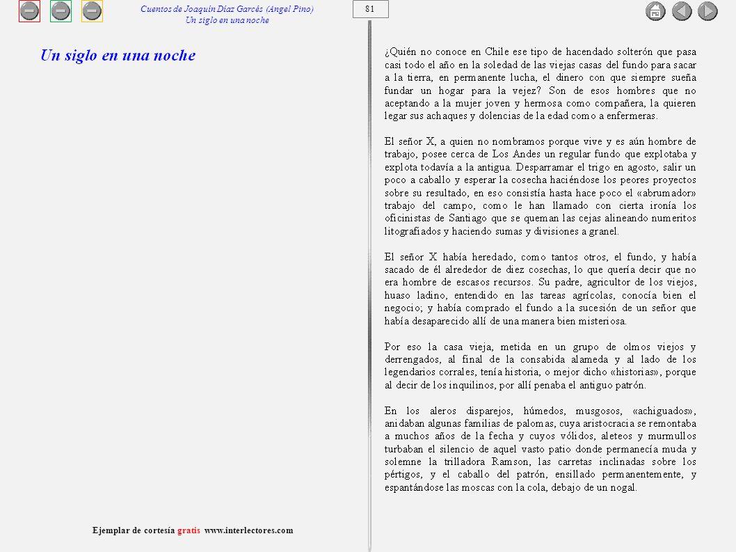 82 Ejemplar de cortesía gratis www.interlectores.com Cuentos de Joaquín Díaz Garcés (Angel Pino) Un siglo en una noche