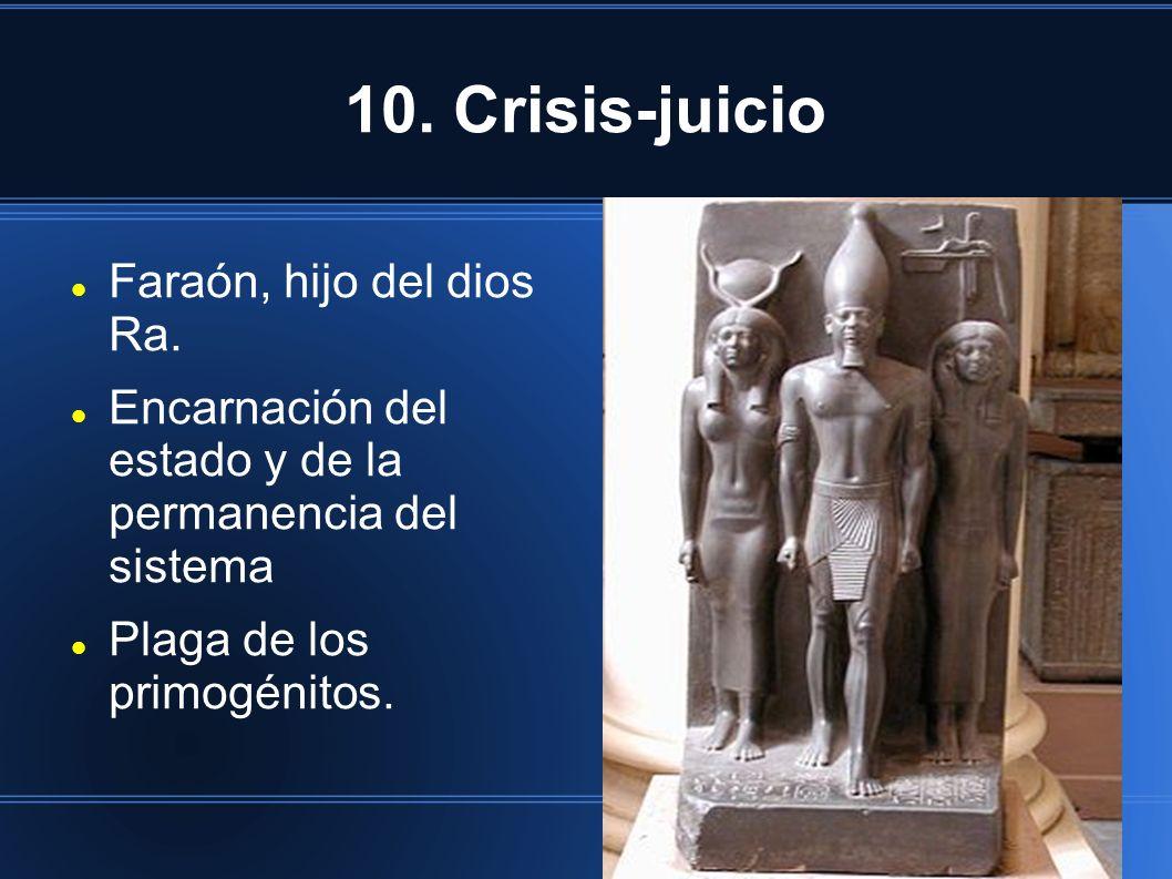 10. Crisis-juicio Faraón, hijo del dios Ra. Encarnación del estado y de la permanencia del sistema Plaga de los primogénitos.