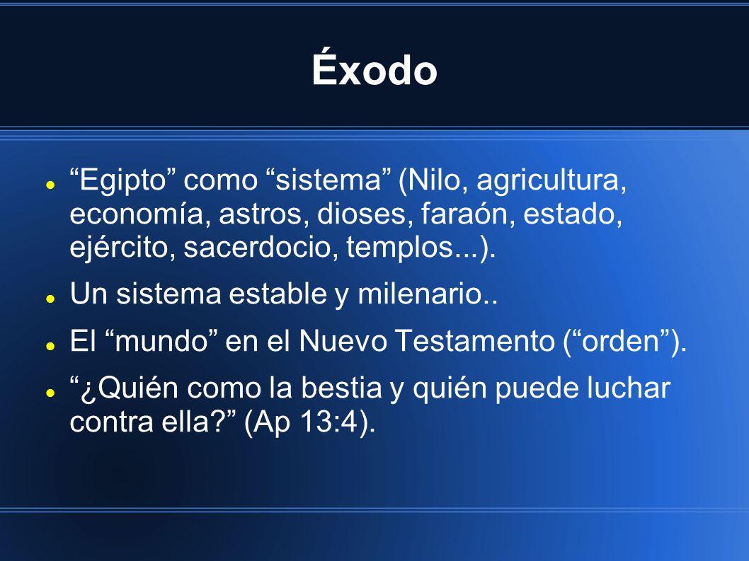 Éxodo Egipto como sistema (Nilo, agricultura, economía, astros, dioses, faraón, estado, ejército, sacerdocio, templos...).