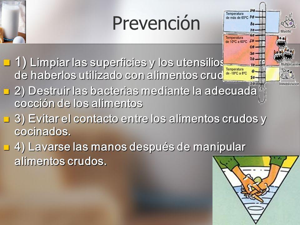 Prevención 1) 1) Limpiar las superficies y los utensilios después de haberlos utilizado con alimentos crudos. 2) 2) Destruir Destruir las bacterias me