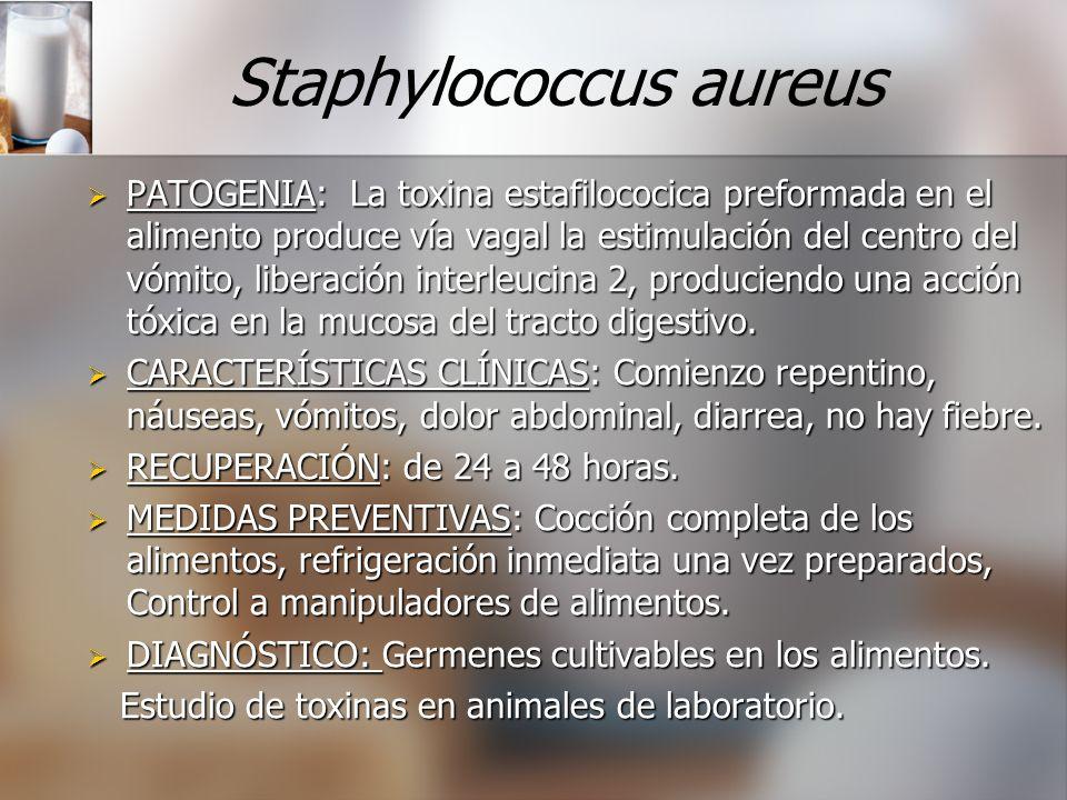 Staphylococcus aureus PATOGENIA: La toxina estafilococica preformada en el alimento produce vía vagal la estimulación del centro del vómito, liberació