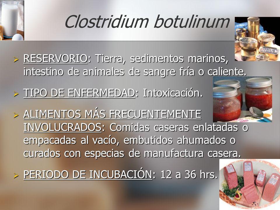 Clostridium botulinum RESERVORIO: Tierra, sedimentos marinos, intestino de animales de sangre fría o caliente. RESERVORIO: Tierra, sedimentos marinos,