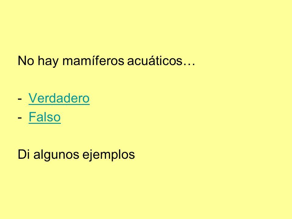 No hay mamíferos acuáticos… -VerdaderoVerdadero -FalsoFalso Di algunos ejemplos