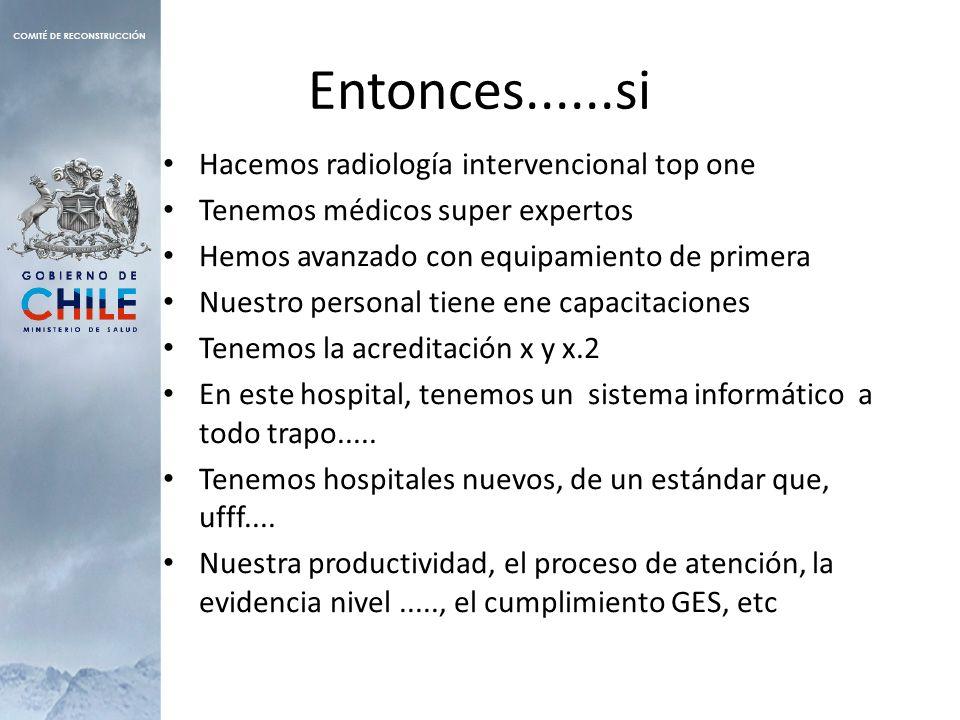 Entonces......si Hacemos radiología intervencional top one Tenemos médicos super expertos Hemos avanzado con equipamiento de primera Nuestro personal tiene ene capacitaciones Tenemos la acreditación x y x.2 En este hospital, tenemos un sistema informático a todo trapo.....