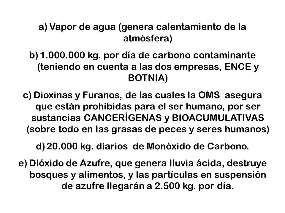 a)Vapor de agua (genera calentamiento de la atmósfera) b)1.000.000 kg.