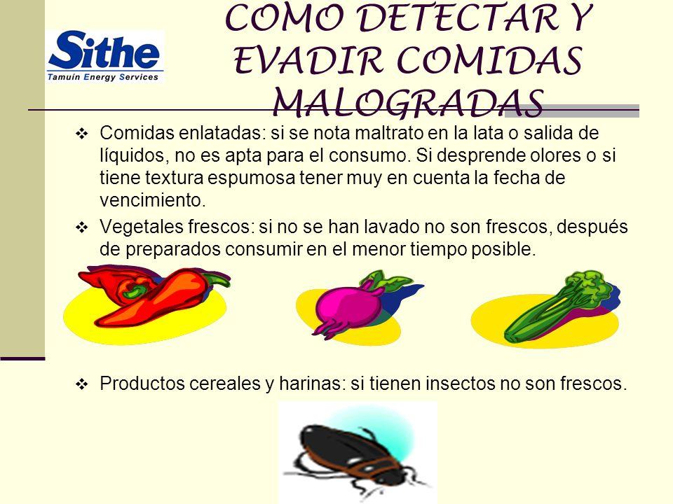 COMO DETECTAR Y EVADIR COMIDAS MALOGRADAS Comidas enlatadas: si se nota maltrato en la lata o salida de líquidos, no es apta para el consumo. Si despr