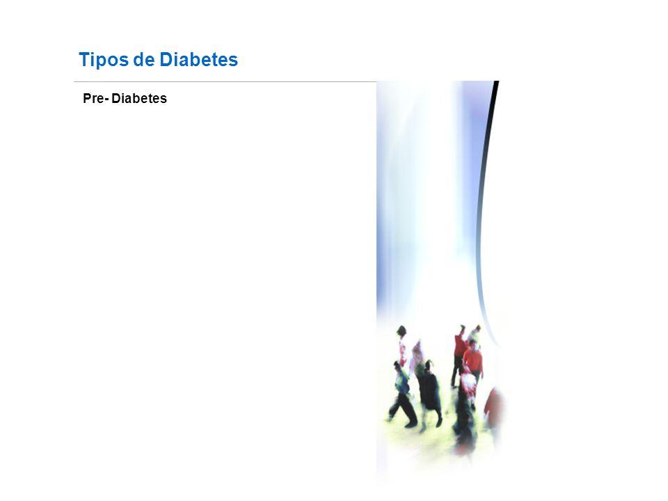 Pre- Diabetes Fuente: http://www.fundaciondiabetes.org/box02.htm Tipos de Diabetes