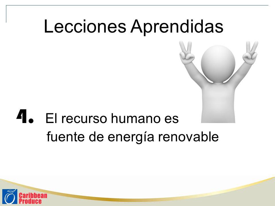 4. El recurso humano es fuente de energía renovable Lecciones Aprendidas