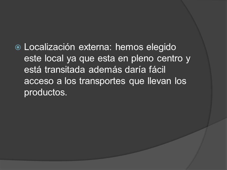 Localización externa: hemos elegido este local ya que esta en pleno centro y está transitada además daría fácil acceso a los transportes que llevan lo