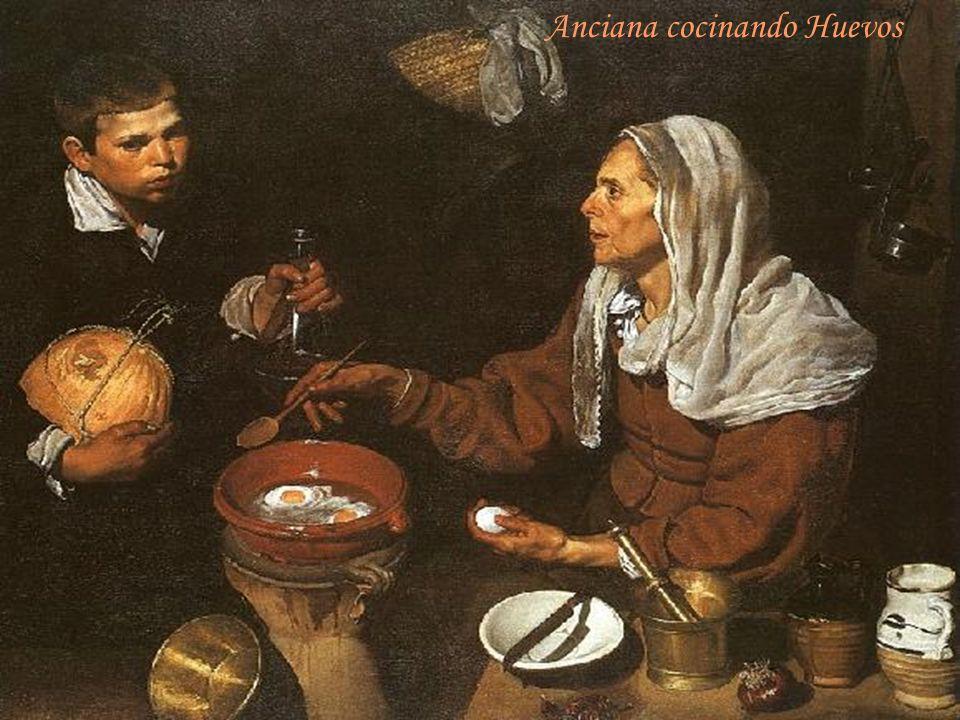Anciana cocinando Huevos