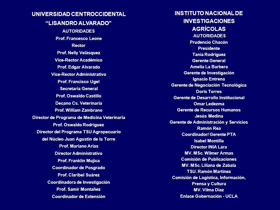 INSTITUTO NACIONAL DE INVESTIGACIONES AGRÍCOLAS AUTORIDADES Prudencio Chacón Presidente Tania Rodríguez Gerente General Amelia La Barbera Gerente de I