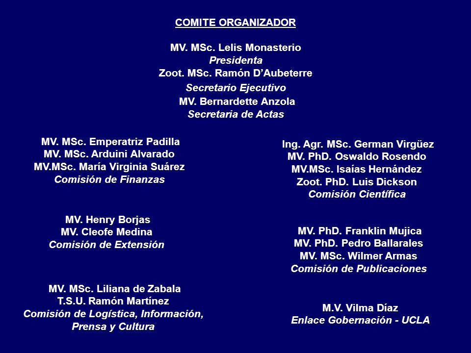 MV. MSc. Emperatriz Padilla MV. MSc. Arduini Alvarado MV.MSc. María Virginia Suárez Comisión de Finanzas Ing. Agr. MSc. German Virgüez MV. PhD. Oswald