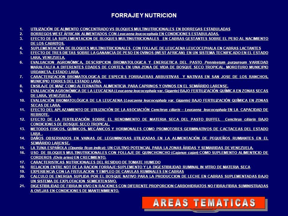 FORRAJE Y NUTRICION 1.UTILIZACIÓN DE ALIMENTO CONCENTRADO VS BLOQUES MULTINUTRICIONALES EN BORREGAS ESTABULADASUTILIZACIÓN DE ALIMENTO CONCENTRADO VS